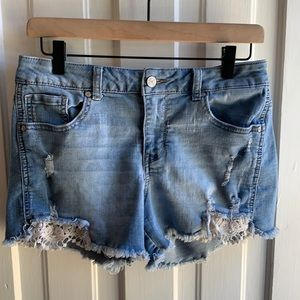 Altar'd State Distressed Lace Detail Shorts